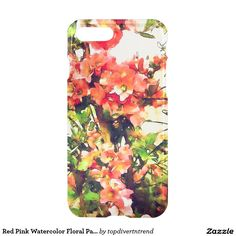 Red Pink Watercolor Floral Pattern 1 iPhone 7 Plus Case