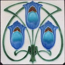 """Very Rare colour way  used with this Gothic inspired Art Nouveau design,see the tile reference book """"Art Nouveau Tiles with Style"""" tile reference 173 for the maker."""