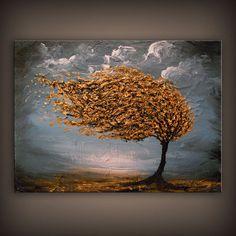Large abstract landscape painting folk art original by mattsart, $325.00