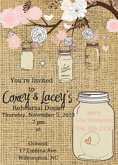 Mason Jar Rehearsal Dinner Invitation Rehearsal by ChurchHillCharm, $18.00