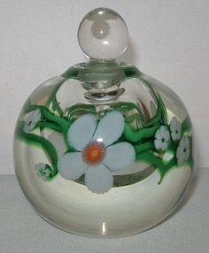 Exquisite ORIENT & FLUME Art Glass PERFUME Original LABEL 1985 Beautiful SIGNED