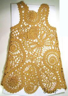 TRICO y CROCHET-madona-mía: Encaje de Brujas con patrones de ganchillo Crochet Tank, Crochet Blouse, Crochet Motif, Irish Crochet, Crochet Stitches, Baby Knitting Patterns, Crochet Patterns, Crochet Poncho With Sleeves, Bruges Lace