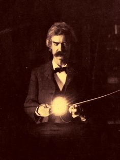 """Mark Twain, in Nikola Tesla's lab, spring of Originally published as article by T. Martin called """"Tesla's Oscillator & Other Inventions"""" in Century Magazine, 1895 April. Nikola Tesla, Tesla S, Arte Tribal, Cult, E Mc2, High Voltage, Mark Twain, Old Photos, Vintage Photos"""