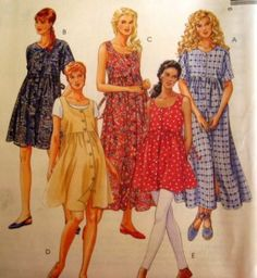 McCALLS Sewing Pattern 8591 10,12,14 MISS MATERNITY DRESS AND TOP