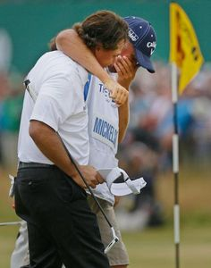 Phil winning the British Open 2013 Finally, with his friend and caddy Bones. what a classy team