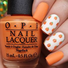 """""""Cute little matte pumpkin print nails! Tutorial will be up today Tag someone who would love these! I used: @opi_products Alpine Snow, Where Did Suzi's…"""""""
