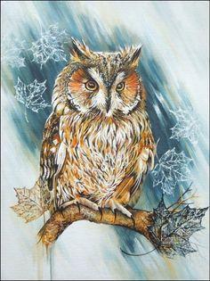 30x40 cm - owl, acrylic, (c) Lesina Elena