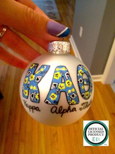 Hand painted Kappa Alpha Theta ornament inspired by Lilly Pulitzer