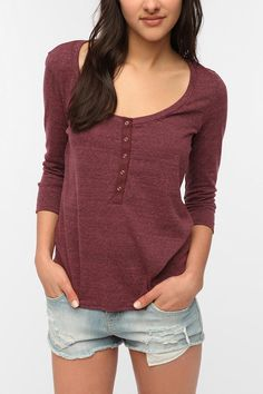 Daydreamer LA Snap Front Henley Tee  #UrbanOutfitters