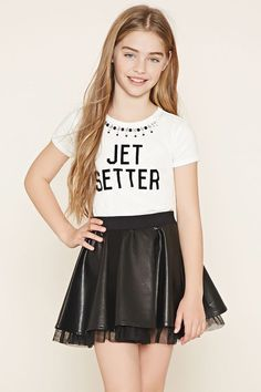 Forever 21 Girls - This faux leather skirt features an elasticized waist and a tulle lining underneath its hem. Boys And Girls Clothes, Kids Outfits Girls, Girl Outfits, Girls Dresses, Cute Outfits, Mini Dresses, Ball Dresses, Young Girl Fashion, Preteen Girls Fashion
