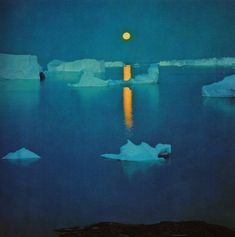 Groenland by Hjalmar Petersen, 1967 Nocturne, Nature Paintings, Watercolor Paintings, Landscape Art, Landscape Paintings, Landscapes, Rick Stevens, Inuit Art, Good Night Moon