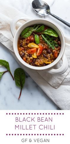 Vegan Black Bean Millet Chili is one of my favorite vegan soups -so hearty and nutritious!