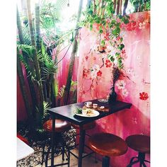Kathe Fraga paintings: Chinoiserie and floral art/design for Revolver Espresso, Bali. www.kathefraga.com