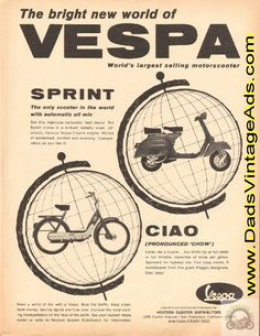 1968 Vespa Sprint & Ciao Scooter Vintage Ad $13.99