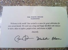 How to get a hand written birth welcome from the President of the United States