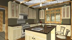 Kitchen with large island. See more 3d images for this small downsizing home plan SG-981-AMS.