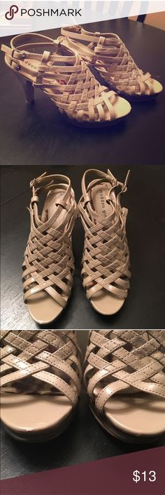 Madden Girl Strappy Heels Nude strappy heels! Some minor signs of wear (see pictures) but lots of life left in these. Madden Girl Shoes Heels