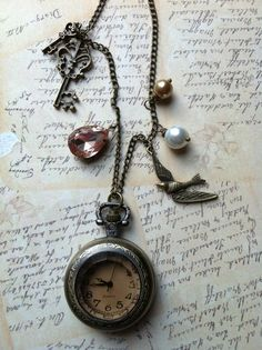Real working pocket watch necklace with amber by NoTwoTheSame, $22.00