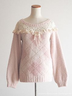 LIZ LISA Off-shoulder See-through Pink Sweater Dress Hime gyaru Lolita Japan SzF #LIZLISA #Offshoulder