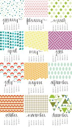 "2014 Monthly Wall Calendar - Bold, Modern, Colorful Designs - 11"" x 17"" On Matte Cardstock. Perfect for Holiday, Christmas Gift, New Years by ChristineMarieB on Etsy. $35"