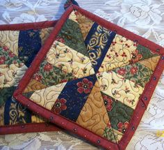 Pieced and Quilted Potholders by DebiDesigns on Etsy