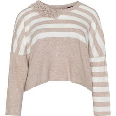 Chalona Beige / White Plus Size Two tone knitted sweater ($100) ❤ liked on Polyvore featuring tops, sweaters, beige, plus size, long sleeve sweaters, white oversized sweater, oversized sweaters, plus size pullover sweaters and white sweater
