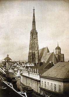 Alois Auer Hackel - View of the Tower of St Stephan's, 1852 Saint Stephen, Old Photos, Paris Skyline, Saints, Tower, Vienna Austria, The Originals, History, 19th Century