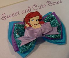 Ariel The Little Mermaid Hair Bow by SweetandCuteBows on Etsy, $9.50