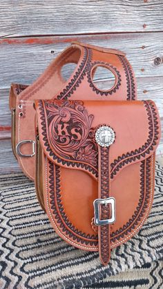 Custom Made To Order Western Leather Floral Tooled Saddlebags ~ Saddle Bags, Horse, Tack, Gear by NeelyLeatherwork, $385.00 USD