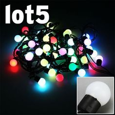 5x Christmas Light RGB 5M 50Leds 4W Fairy Light String 50bulbs Black Rope for Wedding Party Xmas Decoration Christmas Ornaments Waterproof outdoor IP65 by A1store by A1store. $72.51. Working Voltage: 110V ,Power: 4W , Plug Type: US standard. 50LED Balls RGB Fairy Light String. LED Qty: 50 LED bulbs, Ball Shape. Color: RGB, Black String. Waterproof: IP65. Application:  Market Engineering lighting, architectural decoration, decoration of trees along streets, parks, de...