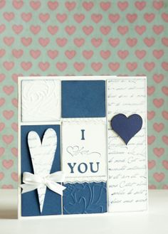 I Love You Blue Navy Handmade Card with Heart Shapes and Romantic Handwriting