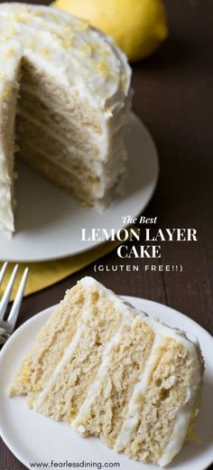 Scrumptious gluten free lemon layer cake is the ultimate cake for birthdays and other occasions. This easy cake recipe is full of lemon curd flavors. Recipe at www.fearlessdining.com #lemoncake #layercake #birthdaycake #glutenfreecake via @fearlessdining