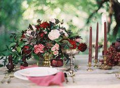 marsala and pink table setting
