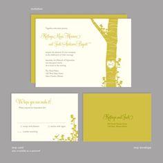 4Ever Tree Wedding Invitation Sample by SilhouetteBlue on Etsy, $3.00