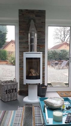 in white enamel Gas Stove Fireplace, Home Fireplace, Garden Room Extensions, House Extensions, Contemporary Bird Baths, Log Burning Stoves, Wood Burning, House Extension Design, Open Plan Kitchen Living Room