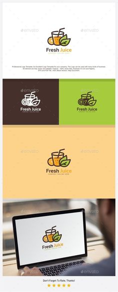 Juice Logo by putracetol Professional Logo Design Template.Professional Logo Design Template, An Excellent Logo Template for your Company. The Logo can be - Graphic Templates Search Engine Food Logo Design, Logo Food, Logo Design Template, Brochure Template, Logo Templates, Menu Design, Design Design, Best Fruit Juice, Fruit Quotes