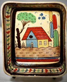 Antique Vintage Mexican Pottery Dish 1940s