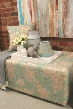 Custom made rectangular ottoman in a geographical fabric with aqua tones. OttomansAquaWater & Aged Care dining room decor and custom made dining chairs. | Aged ...