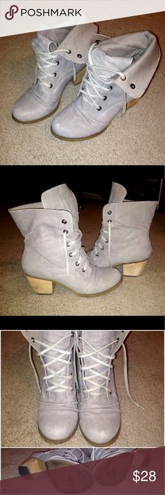 Restricted Gray Boots Adorable boots can either wear upper down has a solid wooden heel that is about an inch and a half tall. Size 8. Restricted Shoes Ankle Boots & Booties