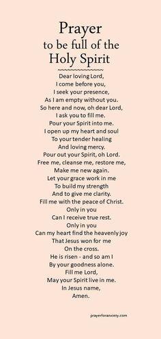 Prayer to be full of the Holy Spirit