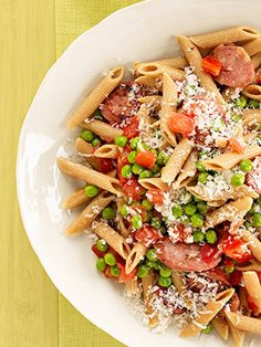 Penne with Sausage and Peas  Delicious 350-Calorie Dinners