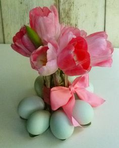 SImple Spoon Egg Holder...be sure to check out the tutorial for more beautiful ideas besides these tulips, my favorite flower!