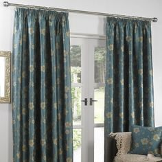 Jing Lined Curtain In Teal With Matching Accessories