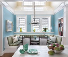 Breakfast nook:  love the built-in shelves; open ceiling; size of nook; sconces (I would make cushions fatter and change pendant light)
