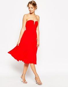 ASOS WEDDING Ruched Bodice Bandeau Midi Dress