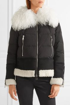 Black shell and wool-blend, ivory shearling Two-way zip fastening through front 100% polyester; trim: 80% wool, 15% polyamide, 5% cashmere; filling: 90% down (Goose), 10% feather (Goose); lining: 100% polyamide Dry clean
