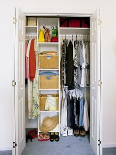 small closet, I would add a shelf between the two tiers of clothes hanging, just to break the clutter look