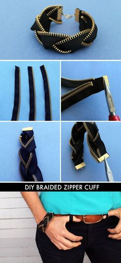 Who knew zippers could make for such awesome arm candy? This kit includes everything you need to make four zipper friendship bracelets and one zipper cuff. Kit makes four single zipper bracelets and one braided black brass zipper bracelet. Diy Tresses, Zipper Bracelet, Diy Bracelet, Bracelet Tutorial, Diy Zipper Jewelry, Gemstone Bracelets, Ankle Bracelets, Diy Zipper Earrings, Emerald Bracelet