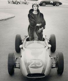 60s fashion photo of model Judy Dent with F1 car by FC Gundlach 1962