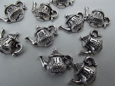 Tea Time Teapots Charms   10 Pieces by 123Betwixt on Etsy, $2.00